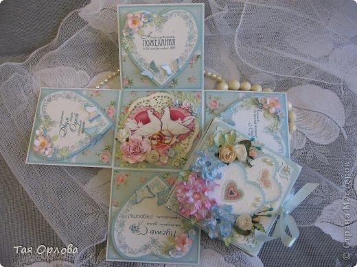 Приветик всем еще разок!На этот раз хочу показать коробочку для денежного подарка на свадьбу.Цветовая гамма -желание заказчицы. фото 4