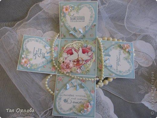 Приветик всем еще разок!На этот раз хочу показать коробочку для денежного подарка на свадьбу.Цветовая гамма -желание заказчицы. фото 3