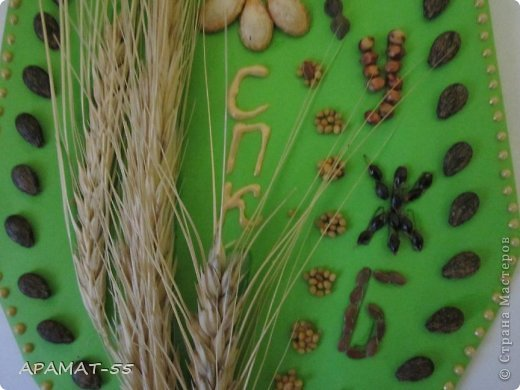 Здравствуйте уважаемые жители Страны Мастеров. Принимайте и мой листочек на виртуальное дерево. Он делался на очный конкурс, но.....  Свой листик я посвятила хозяйству, где проработала 39 лет. Листик украсила семенами культур, которые выращивает наше хозяйство в настоящее время. Здесь размещено 12 культур. Сможете определить, какие? фото 3
