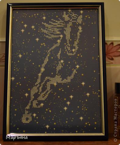 Ко мне в руки попал картон с звездным небом. Появилась идея вышить на нем вот такую лошадку) Схемы не было, пришлось вышивать прямо с вышивки.  фото 1