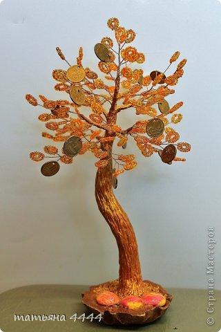 Бонсай топиарий Бисероплетение Денежное дерево Бисер Гипс Проволока фото 1.