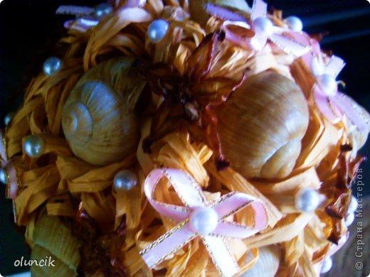 Всем привет,рада приветствовать всех  заглянувших ко мне в блог ,наконец то доделала летний топиарий, в нем использовала, сено,ракушки,карамболь имитация (морские звезды),конечно же жемчуг и ленты,что получилось судить вам.Всем приятного просмотра. Критика и замечания принимаются. фото 2