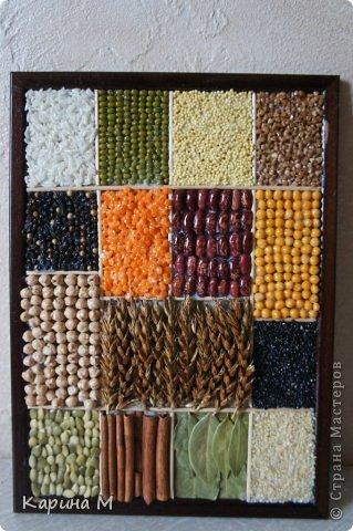 Рис, маш, пшено, гречка Перец черный, чечевица, фасоль, горох, нут, колоски пшеницы, черный кунжут, семена тыквы, палочки корицы, лавровый лист, белый кунжут. фото 1