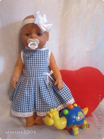 Одежда для кукол BABY BORN.Подходит для кукол-пупсов ростом 40-43см.Вся одежда выполнена вручную из натуральных качественных тканей!!!Каждая девочка будет рада такому подарку! фото 3