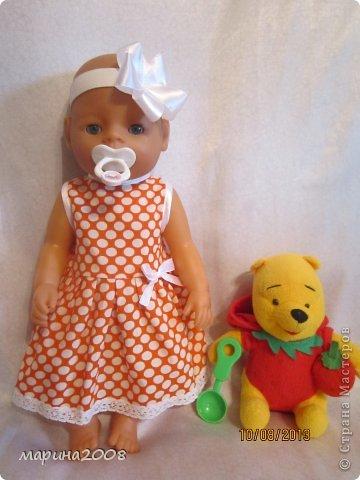 Одежда для кукол BABY BORN.Подходит для кукол-пупсов ростом 40-43см.Вся одежда выполнена вручную из натуральных качественных тканей!!!Каждая девочка будет рада такому подарку! фото 4