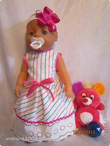 Одежда для кукол BABY BORN.Подходит для кукол-пупсов ростом 40-43см.Вся одежда выполнена вручную из натуральных качественных тканей!!!Каждая девочка будет рада такому подарку! фото 1