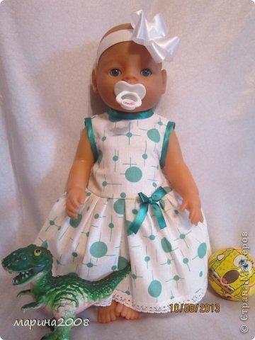 Одежда для кукол BABY BORN.Подходит для кукол-пупсов ростом 40-43см.Вся одежда выполнена вручную из натуральных качественных тканей!!!Каждая девочка будет рада такому подарку! фото 2