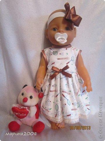 Одежда для кукол BABY BORN.Подходит для кукол-пупсов ростом 40-43см.Вся одежда выполнена вручную из натуральных качественных тканей!!!Каждая девочка будет рада такому подарку! фото 9