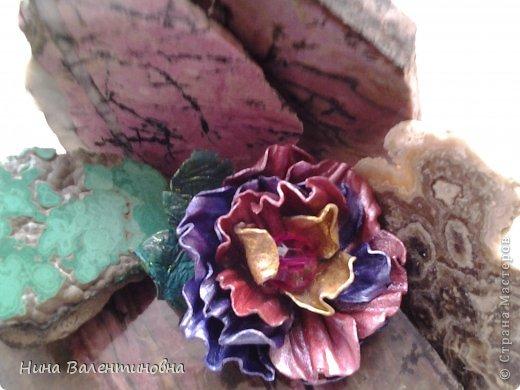Цветок из кожи.Радужный фото 2