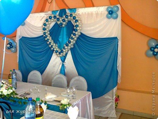наш второй опыт в украшении свадьбы...По мне, так синий цвет к этому интерьеру не очень подходит... Но именно этот цвет выбрала невеста, несмотря на мои уговоры... фото 4