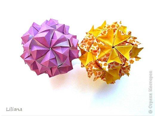 Всем привет! Представляю вашему вниманию свои игровые кусудамы. Oxalis Designer: Natalia Romanenko Units: 30 Paper: 5*10 cm (1:2) Final height: ~ 9.5 cm Joint: no glue  Туториал: http://kusudama.info/2013/09/oxalis-tutorial/ Условия игры: http://kusudama.info/2013/09/igra-5/   фото 3
