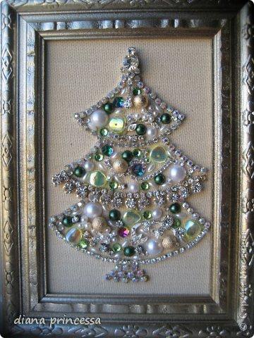 Картина панно рисунок Скрапбукинг Новый год Рождество Аппликация Ассамбляж подарки на новый год Бисер Бусинки Кружево...