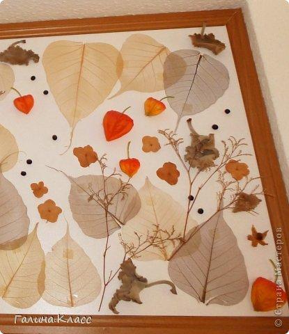 Коллаж размером 105 х 45 см, выполнен из скелетированных листьев, покрашенных марганцовкой, сухих листьев и цветов гортензии, а также шелковых плодов физалиса. фото 3