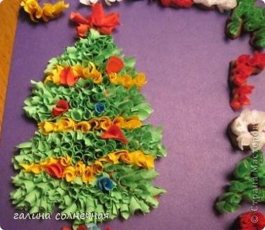 Открытка Поделка изделие Торцевание на пластилине Торцевание на пластилине Елочка солнце цветы Бумага Картон Пластилин фото 1
