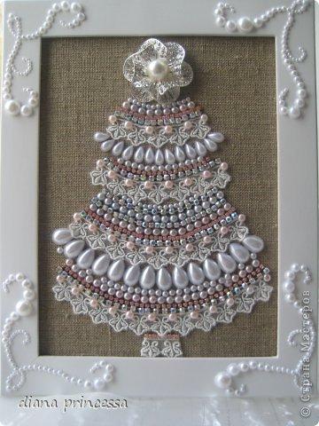 Картина панно рисунок Скрапбукинг Новый год Рождество Аппликация Ассамбляж подарки на новый год Бисер Бусинки Кружево фото 1