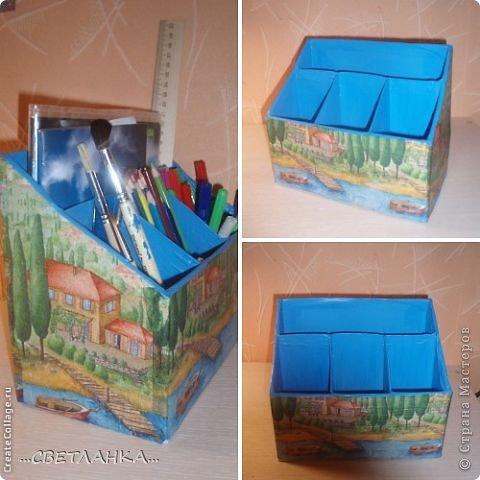 карандашница состоит из 3 коробок от молока и одной коробки от готовых завтраков несквик!!! внутри покрашена синей краской, сверху декупаж салфеткой!! фото 1