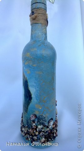 Здравствуйте дорогие жители СМ. Сделала бутылочку на подарок друзьям. Очень растроилась что получился неудачный кракелюр, но времени переделывать не было так что посмотрите сами что я натворила. И снова КОКТЕБЕЛЬ. фото 2