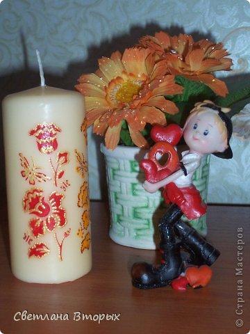 Самая первая моя свечка в декупаже. фото 9