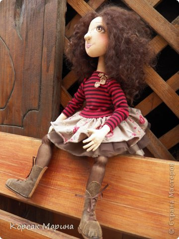 Куколка выполнена из бязи . Ручки ,ножки двигаются .Пальчики сгибаются. Рост 55 см. фото 5