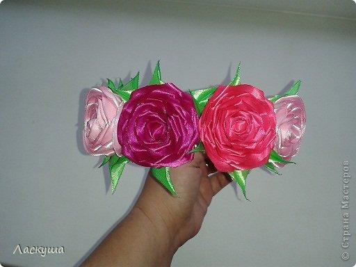 Ободок из роз канзаши