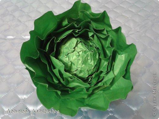 Для праздника осени нужно было сделать капусту....в дальнейшем в нее между листочков будут вставлены загадки...дети будут по одной вытягивать и отгадывать!!!) фото 1