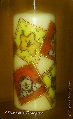 Самая первая моя свечка в декупаже. фото 3