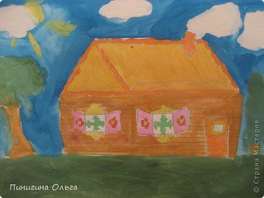Картина панно рисунок Рисование и живопись Рисунок Деревянная изба  Акварель