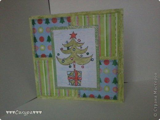 Привет всем! Вот я и заразилась новогодоманией. Вот и готова моя первая новогодняя открытка!!! фото 1