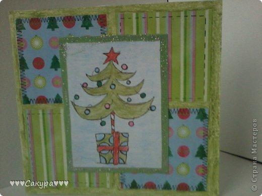 Привет всем! Вот я и заразилась новогодоманией. Вот и готова моя первая новогодняя открытка!!! фото 2
