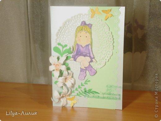 вот открыточка с тильдой (раскрашена в ручную) фото 1