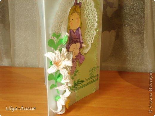 вот открыточка с тильдой (раскрашена в ручную) фото 2