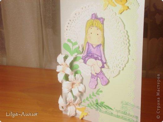 вот открыточка с тильдой (раскрашена в ручную) фото 3