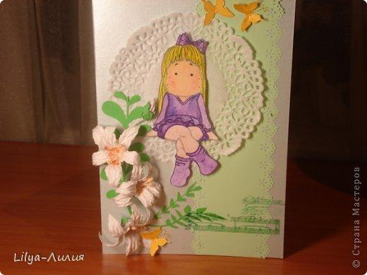 вот открыточка с тильдой (раскрашена в ручную) фото 4