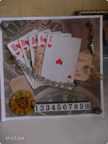 Открытка сделана мужу на День рождения (он любитель покера) фото 1