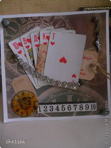Открытка сделана мужу на День рождения (он любитель покера) фото 5