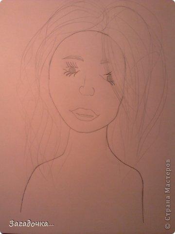 Это моя первая работа и я очень волнуюсь за ваши отзывы...                                                          рисуем голову девушки, что бы она была не квадратная, но и не такая круглая, точнее в форме яйца. фото 4