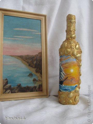 """Бутылка  """"Под парусами"""".  Весело и легко мчится по надутыми парусами легкий  веселый парусник.  Высокое голубое небо и спокойное  прозрачное море несут его к далекой  и радостной мечте.... фото 9"""