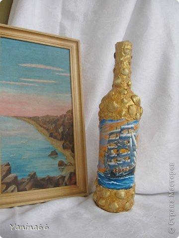 """Бутылка  """"Под парусами"""".  Весело и легко мчится по надутыми парусами легкий  веселый парусник.  Высокое голубое небо и спокойное  прозрачное море несут его к далекой  и радостной мечте.... фото 7"""