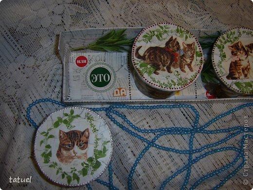Приветствую всех мастериц! Из маленьких бабин, высотой в 8 см. получились небольшие баночки, причем на каждой следующей количество котят увеличивается- один, два и три! фото 11