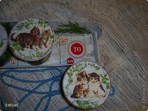 Приветствую всех мастериц! Из маленьких бабин, высотой в 8 см. получились небольшие баночки, причем на каждой следующей количество котят увеличивается- один, два и три! фото 12