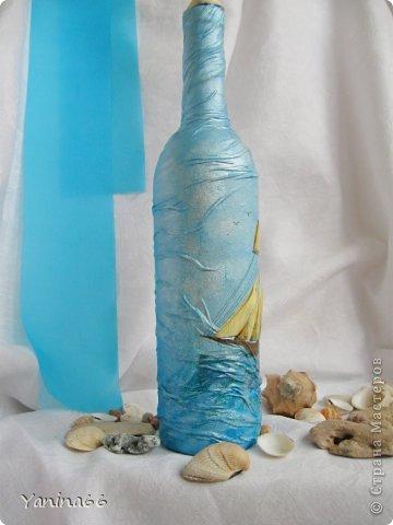 """Бутылка  """"Под парусами"""".  Весело и легко мчится по надутыми парусами легкий  веселый парусник.  Высокое голубое небо и спокойное  прозрачное море несут его к далекой  и радостной мечте.... фото 2"""