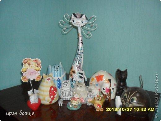 Я любительница кошек. С тех пор как вышла замуж(24 года назад) столько же у меня живут коты.Всегда. разные но есть. Про Ваську,Барсика и Кузю я уже писала(см.блог). Решила показать свою маленькую коллекцию кошек, которые у меня дома и на работе. фото 2
