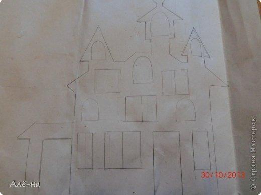 Мастер-класс Поделка изделие Вырезание Дом с привидениями   Бумага Клей Нитки фото 3