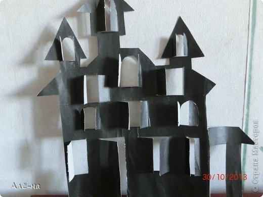 Мастер-класс Поделка изделие Вырезание Дом с привидениями   Бумага Клей Нитки фото 5