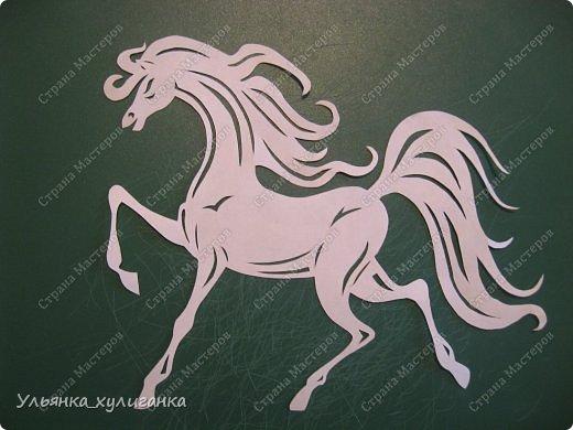 Поделка изделие Новый год Вырезание Лошади кони вытынанки Бумага фото 25