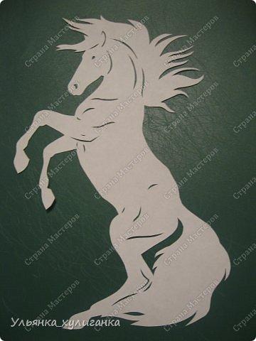 Поделка изделие Новый год Вырезание Лошади кони вытынанки Бумага фото 9