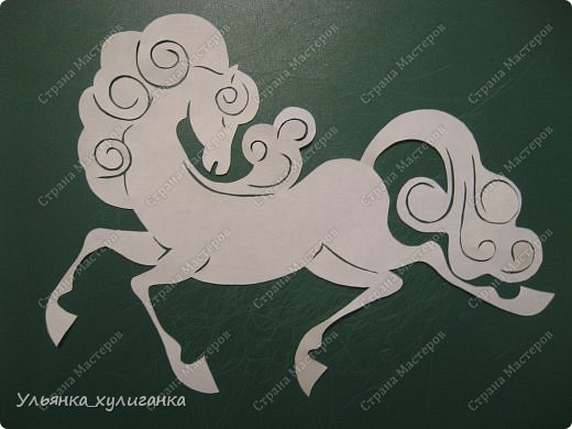 Поделка изделие Новый год Вырезание Лошади кони вытынанки Бумага фото 11