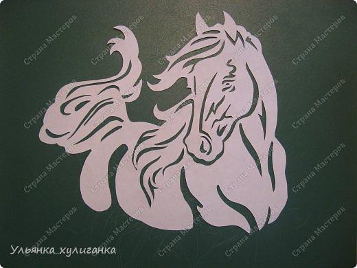 Поделка изделие Новый год Вырезание Лошади кони вытынанки Бумага фото 15
