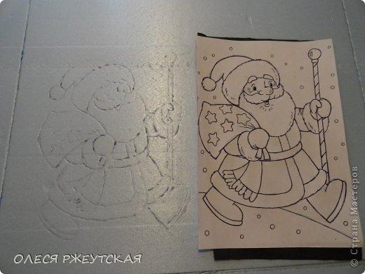 Картина панно рисунок Мастер-класс Новый год Аппликация Пэчворк В ОЖИДАНИИ ВОЛШЕБСТВА Бусинки Пенопласт Ткань фото 7