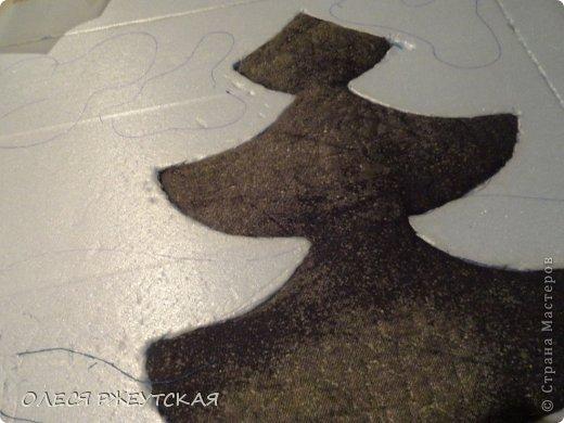 Картина панно рисунок Мастер-класс Новый год Аппликация Пэчворк В ОЖИДАНИИ ВОЛШЕБСТВА Бусинки Пенопласт Ткань фото 12